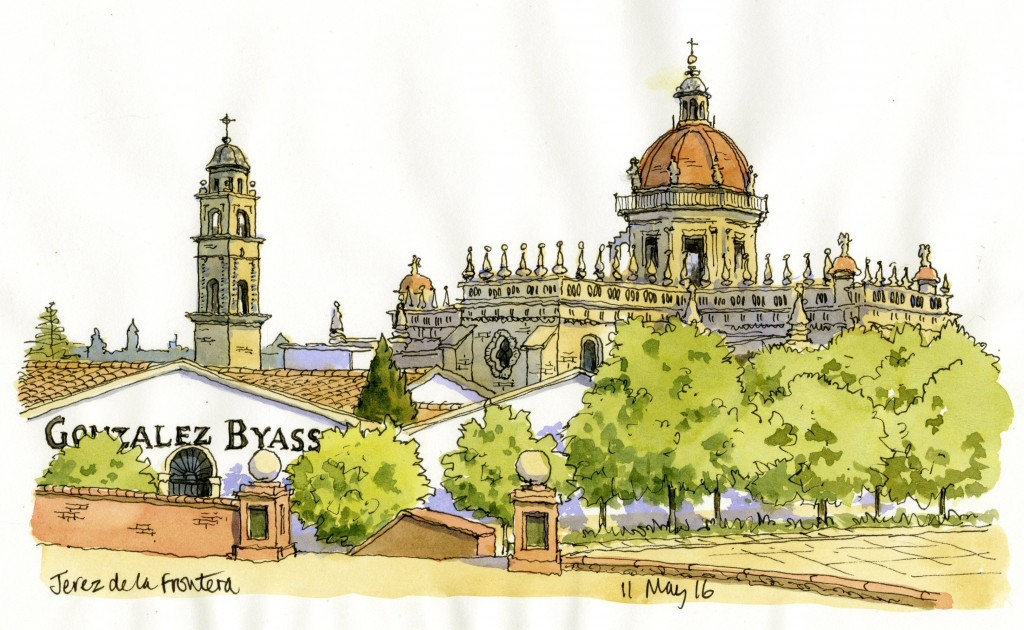 The Cathedral from bandstand Jerez
