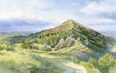 Watercolour painting of the Worcestershire Beacon in Winter