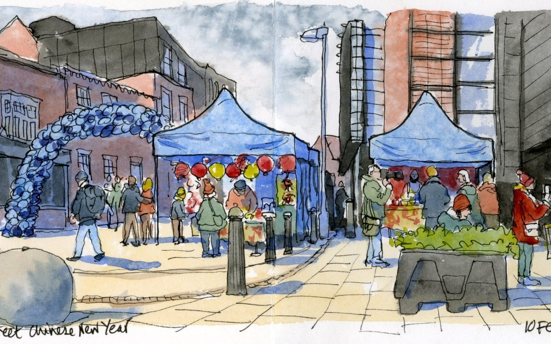Out with the Birmingham Urban Sketchers Chinese New Year 2019