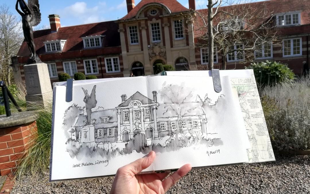 Sketching in Malvern Town Centre