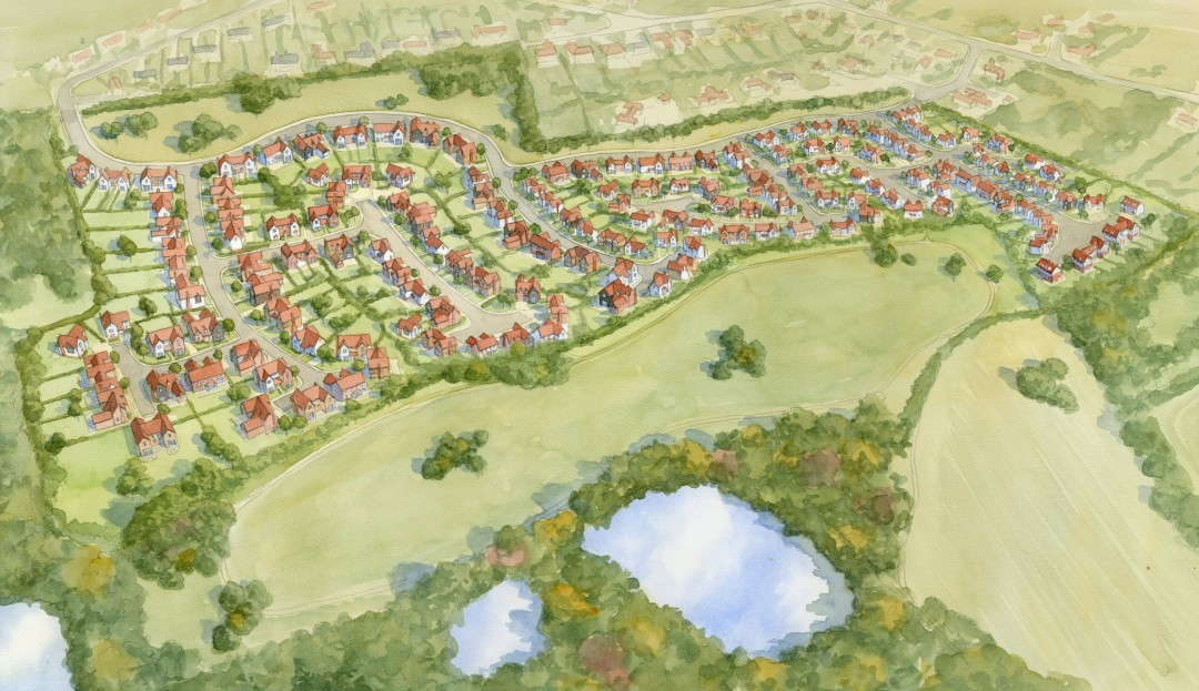 Aerial watercolour view of housing development