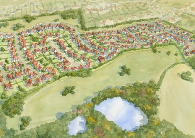 Aerial watercolour view of housing development