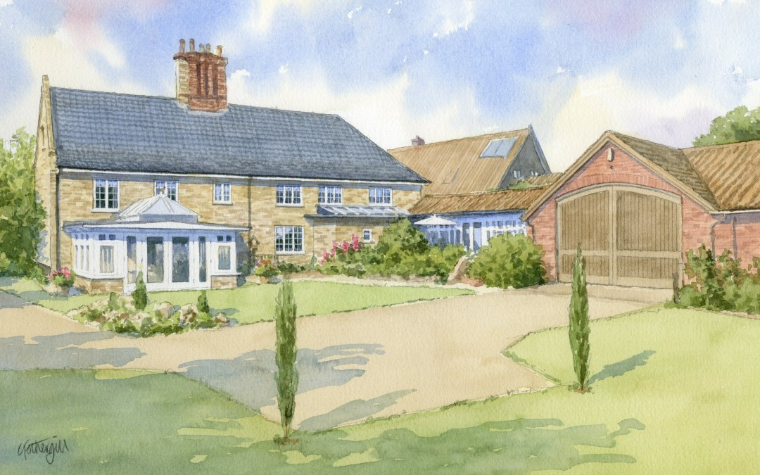 House portrait watercolour
