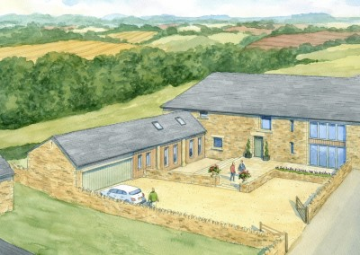 Cotswolds Barn Conversion shown in its setting from aerial perspective