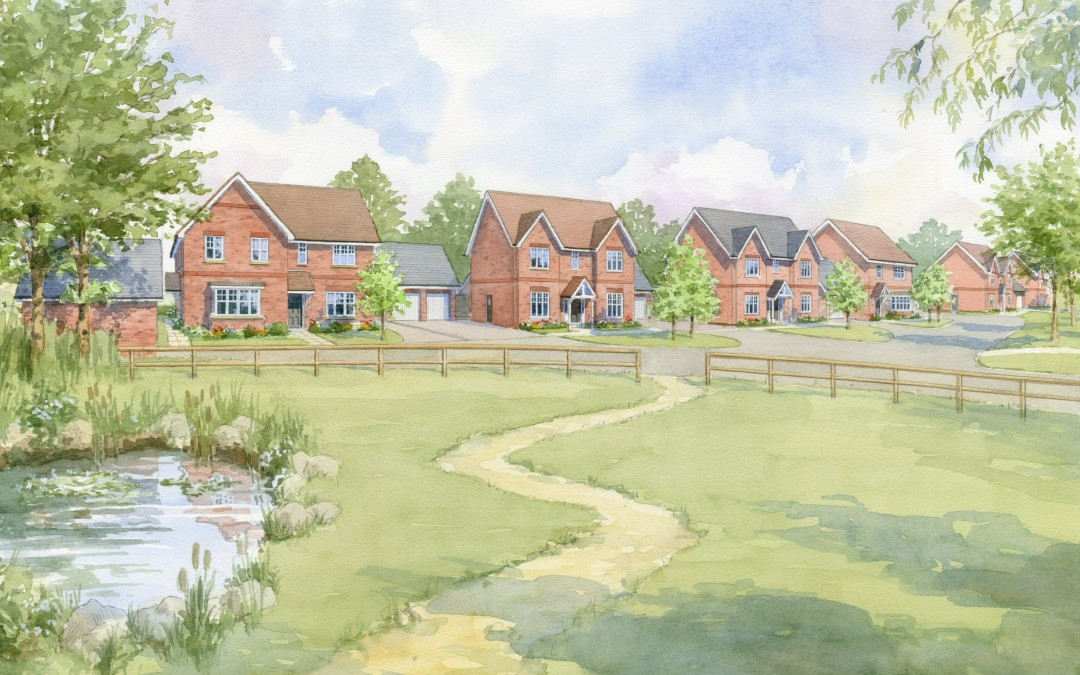 Proposed street view in a village green setting