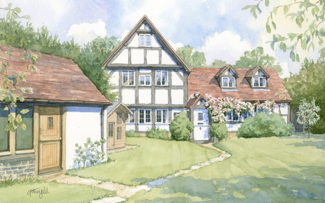 Watercolour portrait of half-timbered house from garden view