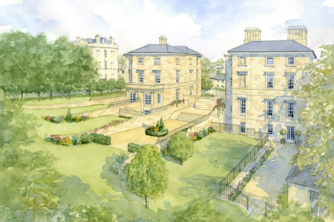 Redevelopment of Bath Stone houses on sloping site
