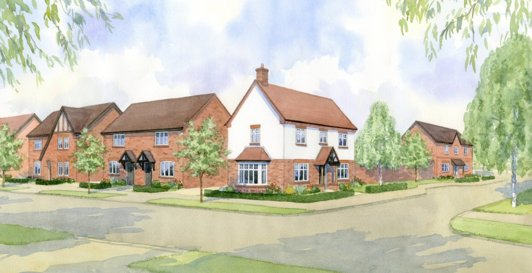 A street scene produced for a major UK house-builder to showcase new house types