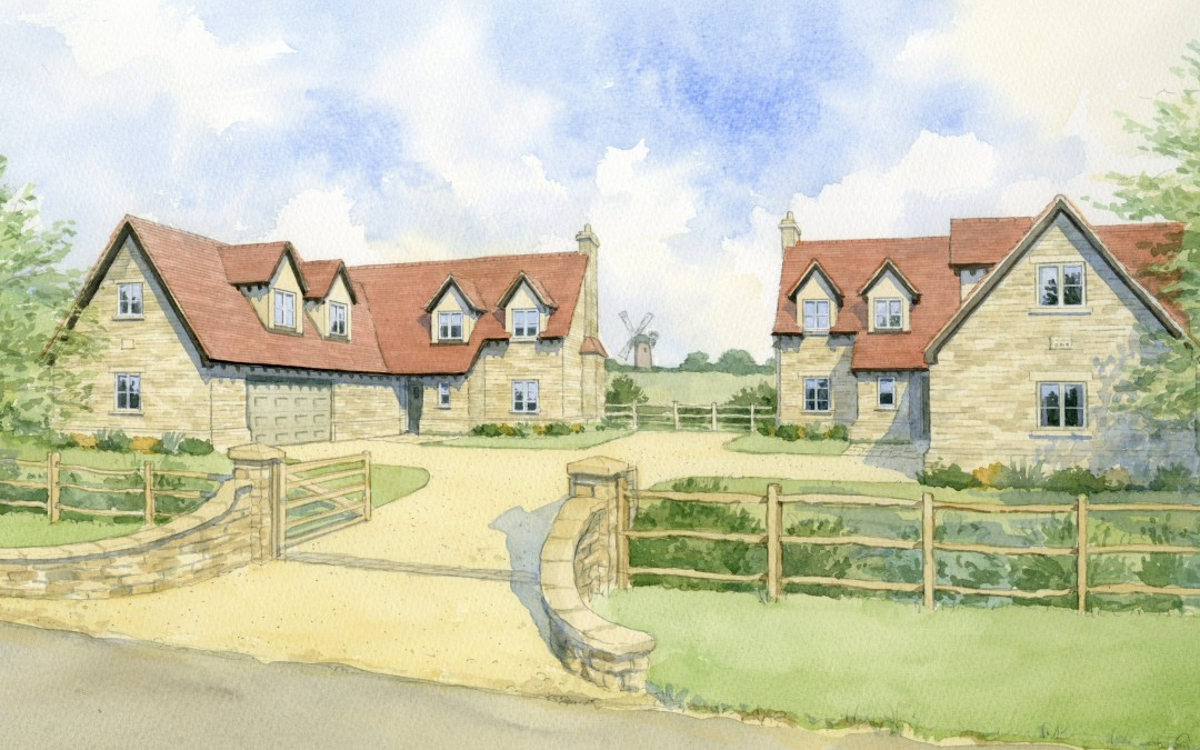 Artist impression of two identical (mirrored) stone houses in one development