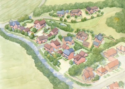 Aerial view of new residential development in village setting