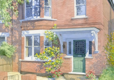 Large watercolour of Victorian semi-detached house