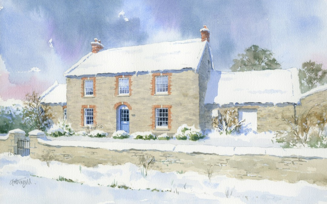 Stone built house as a snowscene